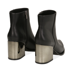Ankle boots neri in eco-pelle, tacco metal 8 cm , Stivaletti, 142182641EPNERO036, 004 preview