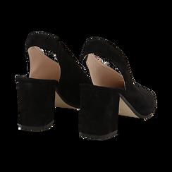 Slingback nere in camoscio, tacco 8 cm , Primadonna, 13D602014CMNERO036, 004 preview