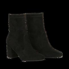 Ankle boots neri in microfibra, tacco 7,5 cm , Stivaletti, 143072170MFNERO035, 002a