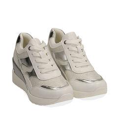 Sneakers bianche, zeppa 7 cm , Primadonna, 177516594EPBIAN037, 002a