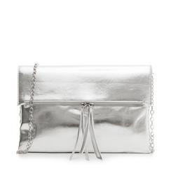 Bustina argento in eco-pelle, effetto metallizzato, Borse, 113308136LMARGEUNI, 001a