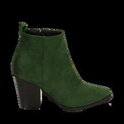 Ankle boots verdi in microfibra, tacco 8,50 cm, Primadonna, 160585965MFVERD035, 001a
