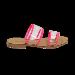 Mules flat fucsia in vernice fluo con effetto see through, Primadonna, 136767001VEFUCS036, 001 preview