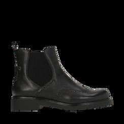 Chelsea boots neri in eco-pelle con lavorazione Duilio, Stivaletti, 140800205EPNERO035, 001a