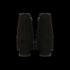 Tronchetti neri in vero camoscio, tacco 8 cm, Primadonna, 12D614011CMNERO, 003 preview