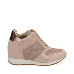 Sneakers oro rosa glitter con zeppa, Scarpe, 152821522GLRAOR035, 001a