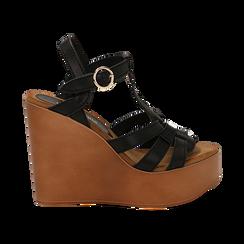 Sandali platform multilistino neri in eco-pelle, zeppa 12 cm , Saldi Estivi, 132147348EPNERO035, 001 preview