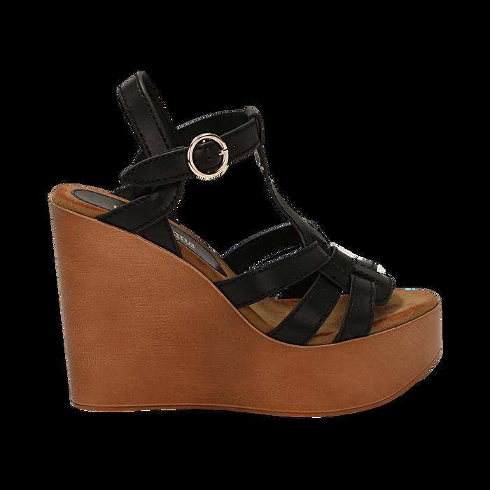 Sandali platform multilistino neri in eco-pelle, zeppa 12 cm , Saldi Estivi, 132147348EPNERO035