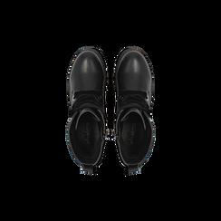 Anfibi neri con dettagli metal, tacco basso, Scarpe, 120639026EPNERO, 004 preview