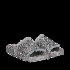 Ciabattine argento in pvc con glitter, Primadonna, 134700004GLARGE036, 002a