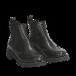 Chelsea boots neri in eco-pelle con lavorazione Duilio, Stivaletti, 140692614EPNERO035, 002a