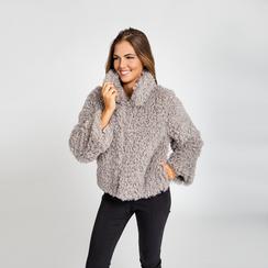 Pelliccia grigia corta eco-shearling, manica lunga, Abbigliamento, 12B432302FUGRIG, 002 preview