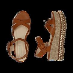 Sandali cuoio, zeppa 7 cm, Scarpe, 154960902EPCUOI, 003 preview