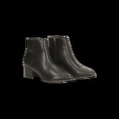 Tronchetti neri con zip, tacco medio 4,5 cm, Scarpe, 122752721EPNERO, 002 preview