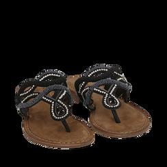 Ciabatte infradito nere in raso , Chaussures, 15K808010RSNERO035, 002a