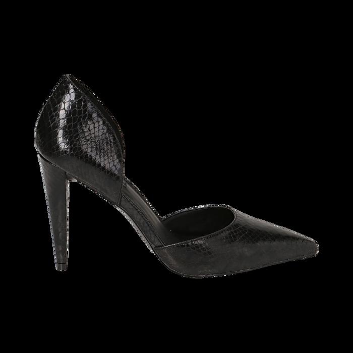 Décolleté nere in eco-pelle, effetto snake skin, tacco 10 cm , Scarpe, 141755295EVNERO036