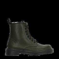 Anfibi verdi con lacci, tacco basso, Scarpe, 122801501EPVERD036, 001a