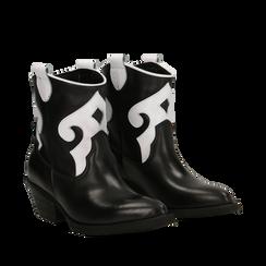 Stivaletti Camperos neri in vera pelle con inserti bianchi, tacco 5,5 cm, Primadonna, 129000040VINEBI036, 002a