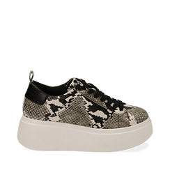 Sneakers blanc/noires imprimé python, compensée 6,50 cm , Primadonna, 167505101PTBINE035, 001a
