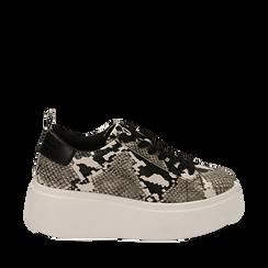Sneakers bianco/nere stampa pitone, zeppa 6,50 cm, Primadonna, 167505101PTBINE035, 001a