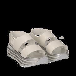 Sandali platform bianchi in eco-pelle, Scarpe, 136700207EPBIAN035, 002a