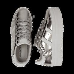 Sneakers argento in laminato con suola platform 4 cm, Scarpe, 130101010LMARGE036, 003 preview