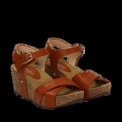 Sandali platform cuoio in eco-pelle, zeppa in sughero 7 cm , Primadonna, 132141454EPCUOI035, 002a