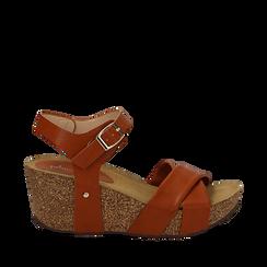 Sandali platform cuoio in eco-pelle, zeppa in sughero 7 cm , Saldi Estivi, 132141454EPCUOI035, 001a