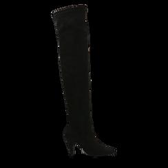 Stivali sopra il ginocchio  neri, tacco a cono 7,5 cm, Scarpe, 124981202MFNERO036, 001a