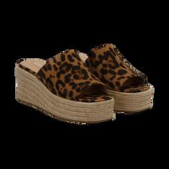 Zeppe platform leopard in eco-pelle, zeppa in corda 7 cm, Saldi, 132708151MFLEOP036, 002 preview
