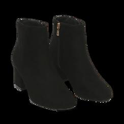 Ankle boots neri in microfibra, tacco 5,5 cm , Stivaletti, 142708211MFNERO036, 002a