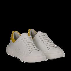 Sneakers bianco/gialle in pelle, Scarpe, 13C300028PEBIGI035, 002a