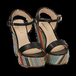 Sandali neri in eco-pelle, zeppa 12 cm , Primadonna, 154917229EPNERO035, 002a