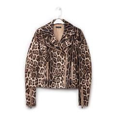 Biker jacket leopard in eco-pelle, Primadonna, 136501161EPLEOPL, 001a