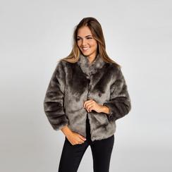 Pelliccia grigia corta eco-fur, manica lunga, Saldi, 12B432301FUGRIGM, 002