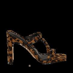 Sandali con punta quadrata leopard in microfibra, tacco 10 cm, Sandali con tacco, 131785322MFLEOP035, 001a