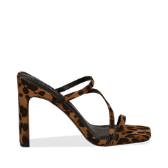 Sandali con punta quadrata leopard in microfibra, tacco 10 cm, Scarpe, 131785322MFLEOP035, 001a