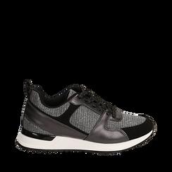 Sneakers canna di fucile glitter con dettagli in eco-pelle, Scarpe, 14D814301GLCANN035, 001a