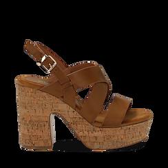 Sandali cuoio in eco-pelle, tacco in sughero 11 cm , Saldi Estivi, 132173071EPCUOI035, 001a