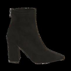 Ankle boots neri in microfibra, tacco 9 cm , Primadonna, 164823107MFNERO035, 001a