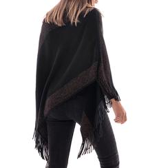 Poncho nero in tessuto , Abbigliamento, 14B400891TSNERO3XL, 002a