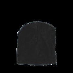 Cappello nero in microfibra con cristalli, Abbigliamento, 14B406051MFNEROUNI, 002a