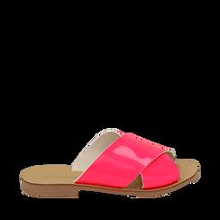 Mules flat fucsia in vernice fluo, Primadonna, 136767002VEFUCS036, 001a