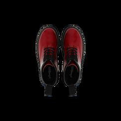 Anfibi rossi vernice, tacco basso, Scarpe, 122801501VEROSS, 004 preview