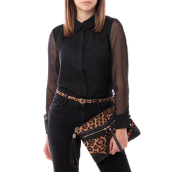Pochette leopard-marrone in microfibra, Borse, 145122216MFLEMAUNI, 002a