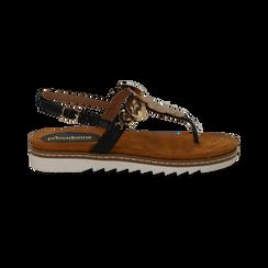 Sandali infradito neri in eco-pelle con suola bianca, Primadonna, 134922304EPNERO035, 001 preview