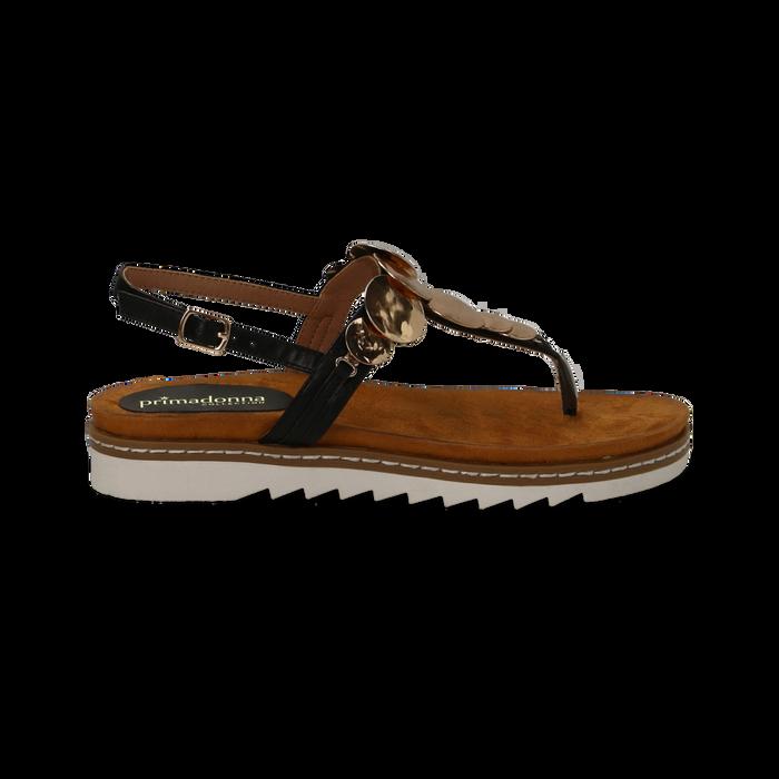 Sandali infradito neri in eco-pelle con suola bianca, Primadonna, 134922304EPNERO035