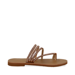 Sandali infradito con strass cuoio in eco-pelle, Saldi Estivi, 114926815EPCUOI035, 001a
