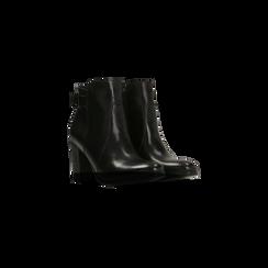 Tronchetti neri in vera pelle con cinturino, tacco 6 cm, Scarpe, 127718308PENERO, 002 preview