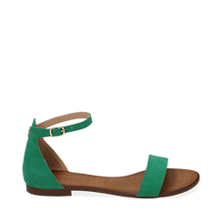 Sandali verdi in microfibra, Chaussures, 154903091MFVERD035, 001a